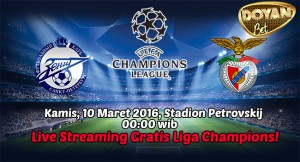 Live Streaming Zenit St.Petersburg vs Benfica 10 Maret 2016 Free! (Liga Champions)